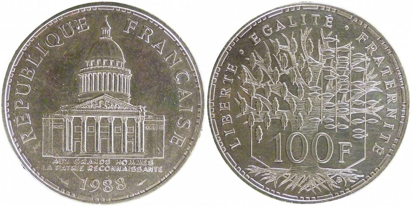 100 Francs 1988 Paris Frankreich Panthéon MS(65-70)