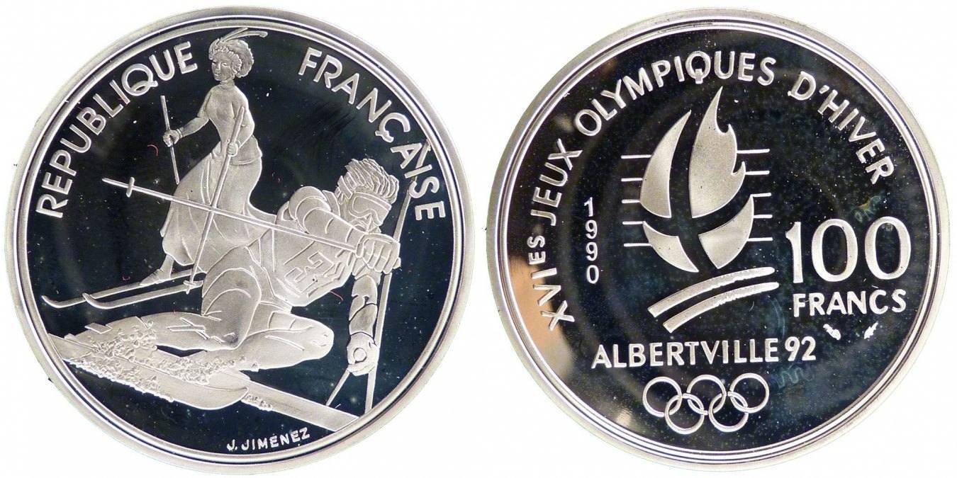 100 Francs 1990 Frankreich 1992 Olympics MS(65-70)