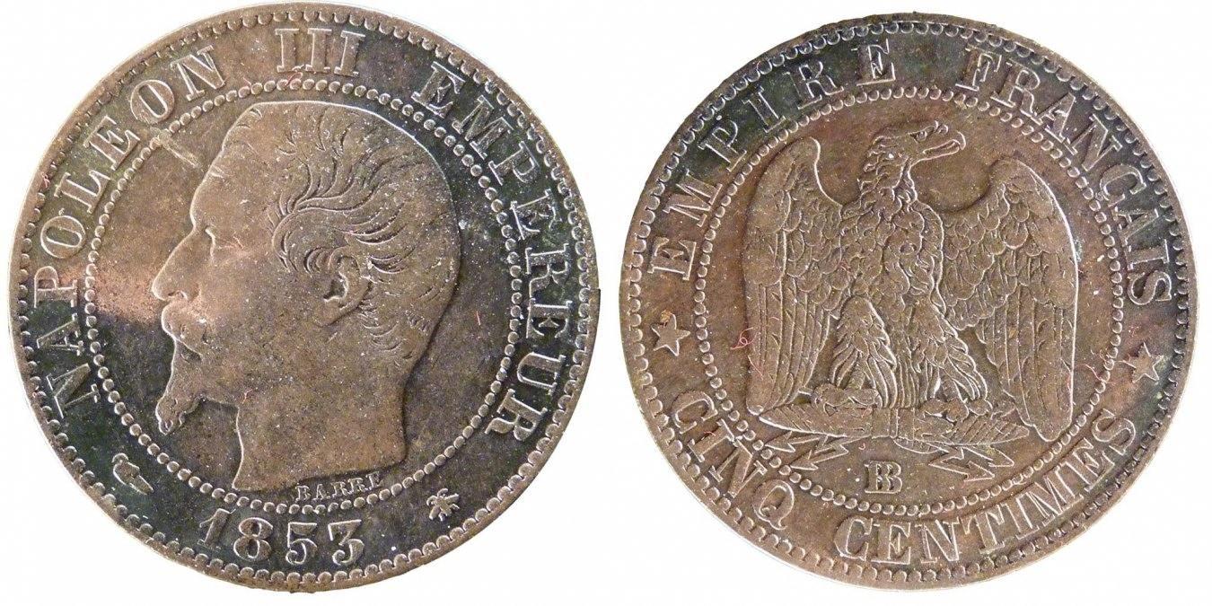 5 Centimes 1853 BB Frankreich Napoléon III Napoleon III EF(40-45)