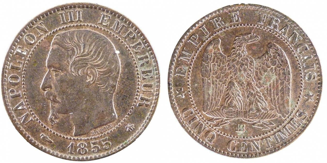 5 Centimes 1855 BB Frankreich Napoléon III Napoleon III AU(55-58)