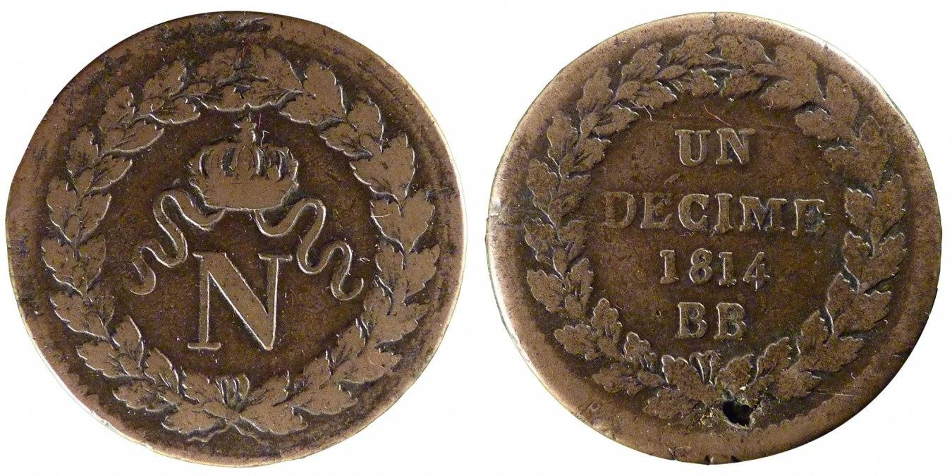 Decime 1814 Strasbourg Frankreich Napoléon I VF(20-25)