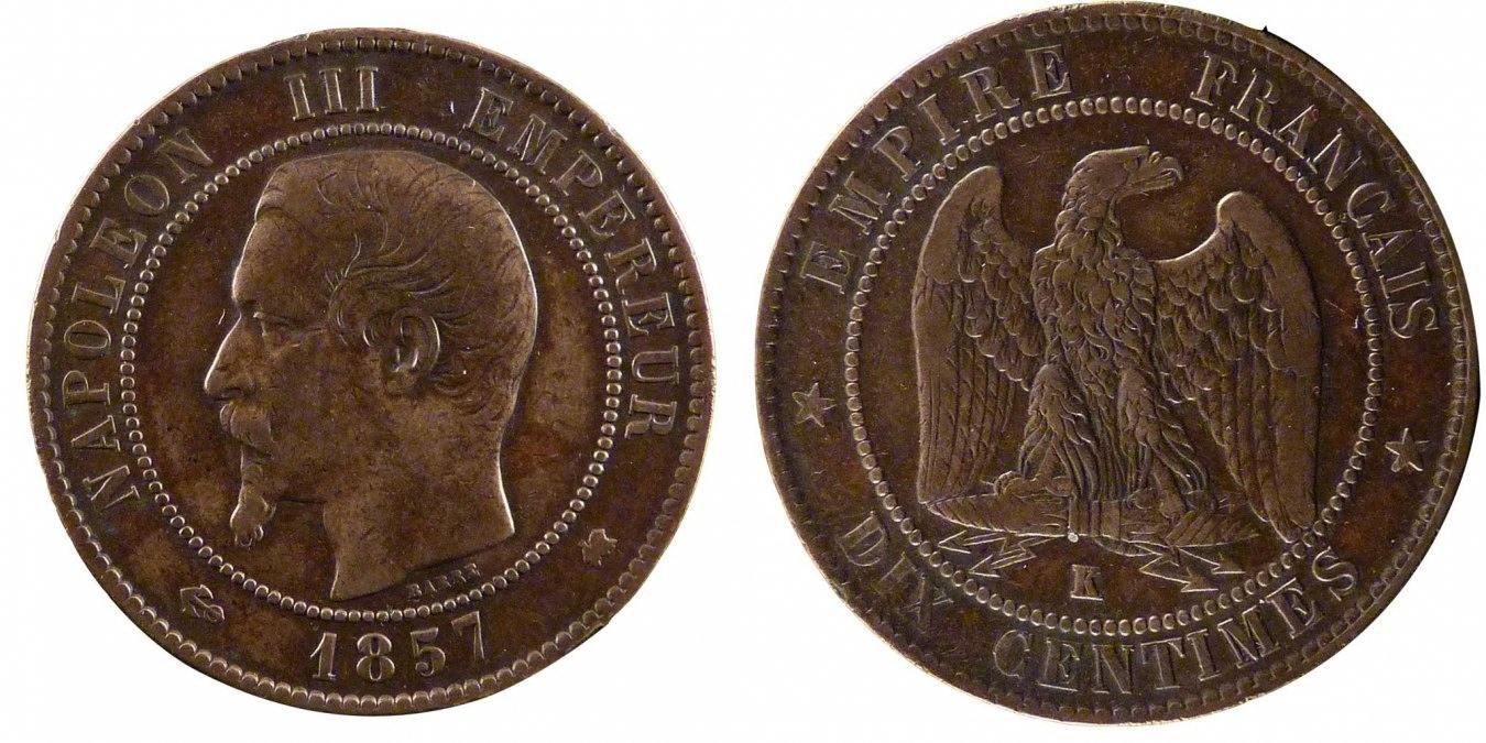 10 Centimes 1857 K Frankreich Napoléon III Napoleon III VF(30-35)