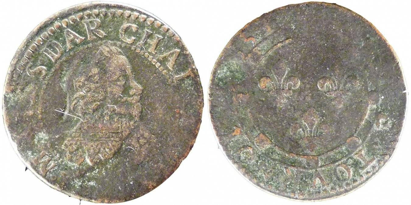 Double Tournois 1634 FRENCH STATES Charles of Gonzaga VF(20-25)