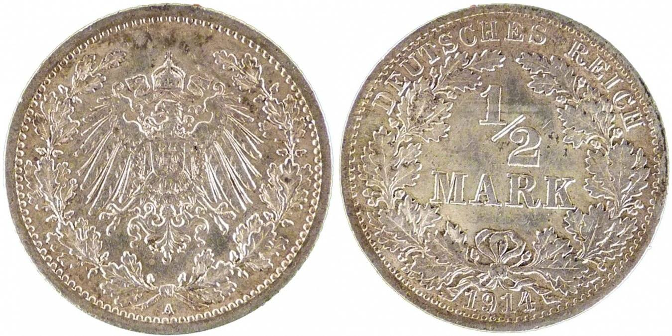 1/2 Mark 1914 J GERMANY - EMPIRE MS(60-62)