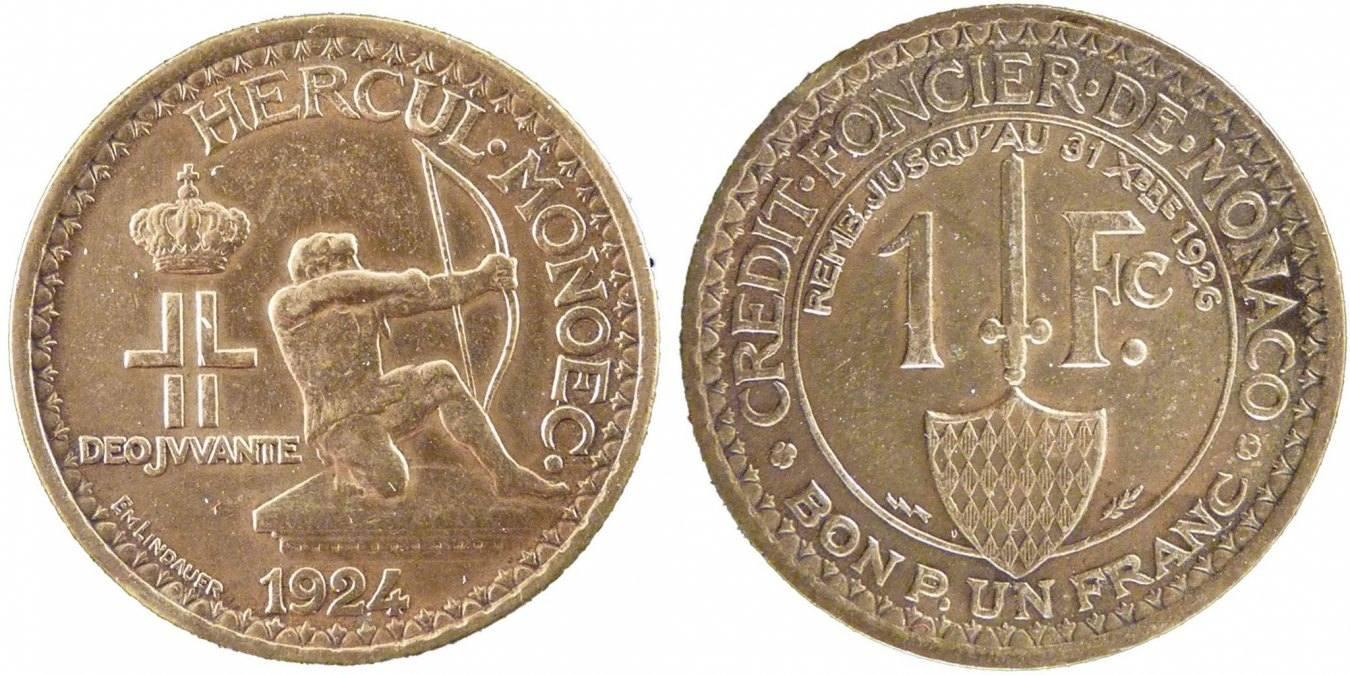 Franc 1924 Poissy Monaco Louis II AU(50-53)