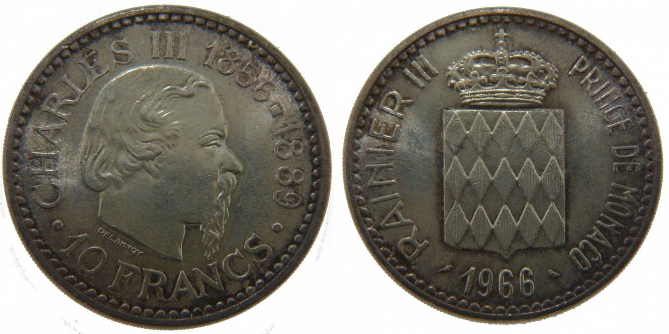 10 Francs 1966 Monaco 100th Anniversary - Accession of Charles III Rainier III MS(60-62)