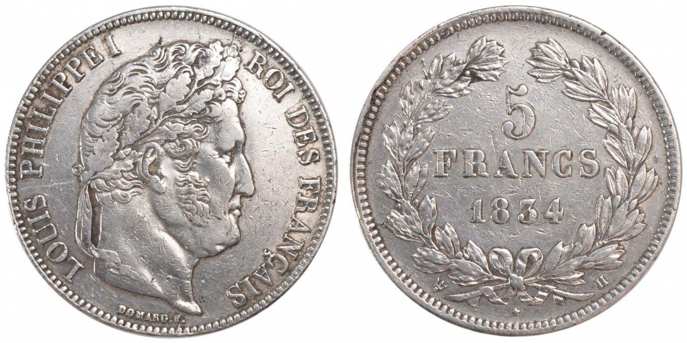 5 Francs 1834 H Frankreich Louis-Philippe AU(50-53)