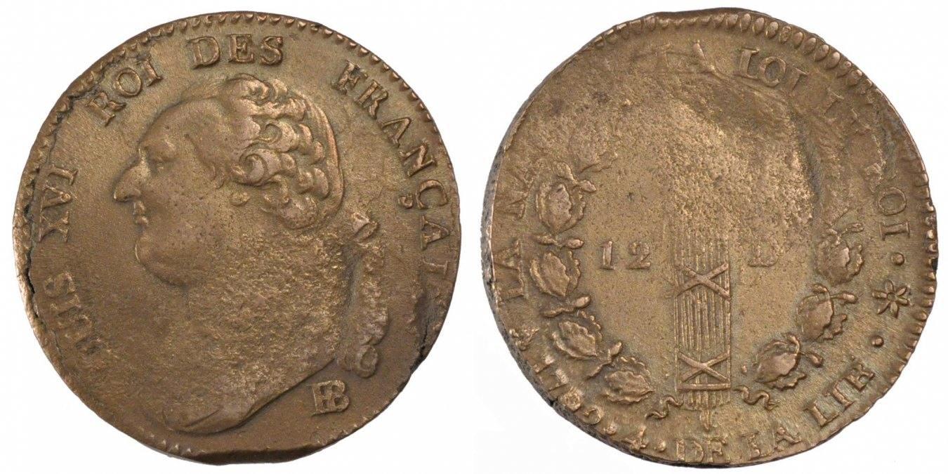 12 Deniers 1792 BB Frankreich 12 deniers français VF(20-25)