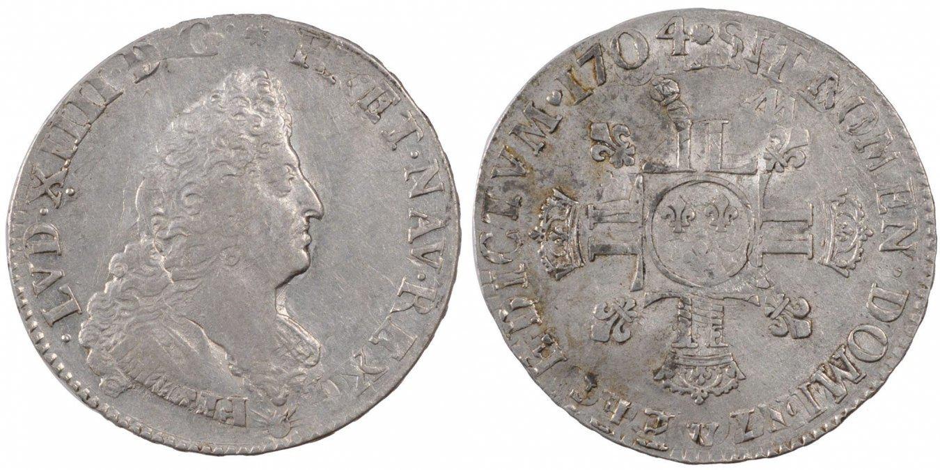 1/2 ECU, 45 Sols 1704 W Frankreich 1/2 Écu aux 8L 2e type, buste du type aux palmes Louis XIV 1643-1715 Louis XIV le Grand EF(40-45)