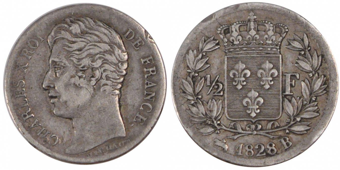 1/2 Franc 1828 B Frankreich Charles X AU(50-53)