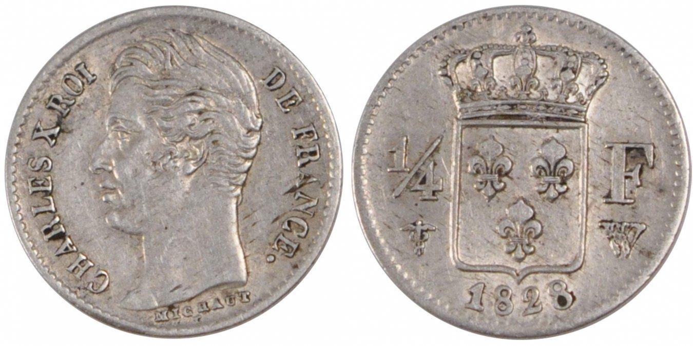 1/4 Franc 1828 W Frankreich Charles X AU(55-58)