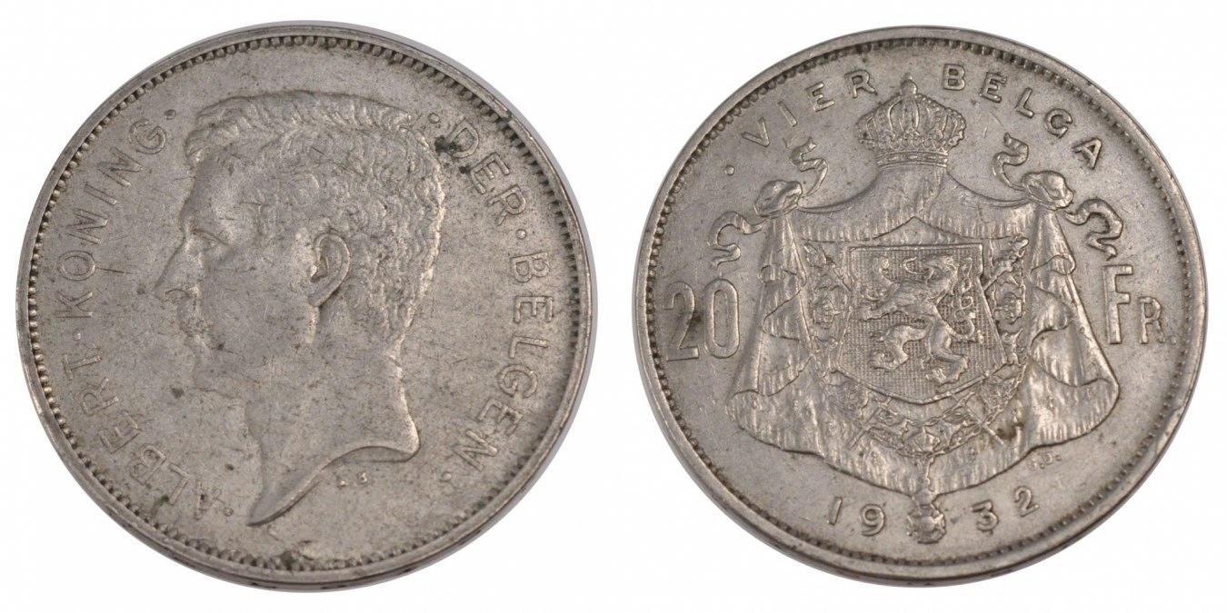 20 Francs, 20 Frank 1932 Belgien EF(40-45)