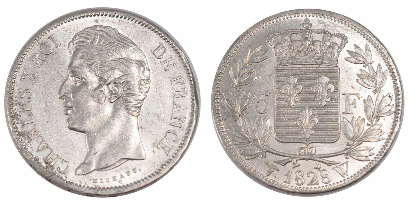 5 Francs 1828 W Frankreich Charles X MS(60-62)
