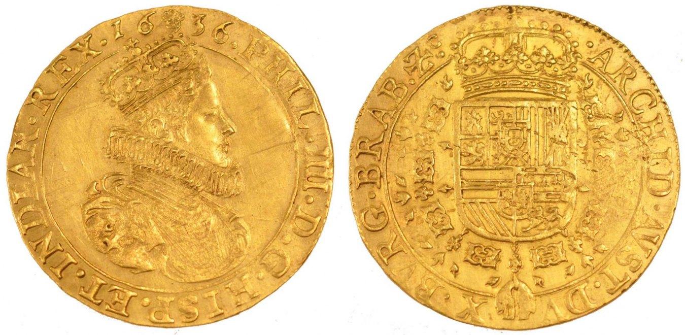 2 Souverain D'or 1636 Brussels Spanische Niederlande SPANISH NETHERLANDS, Brussels, KM #64.1,... VZ+