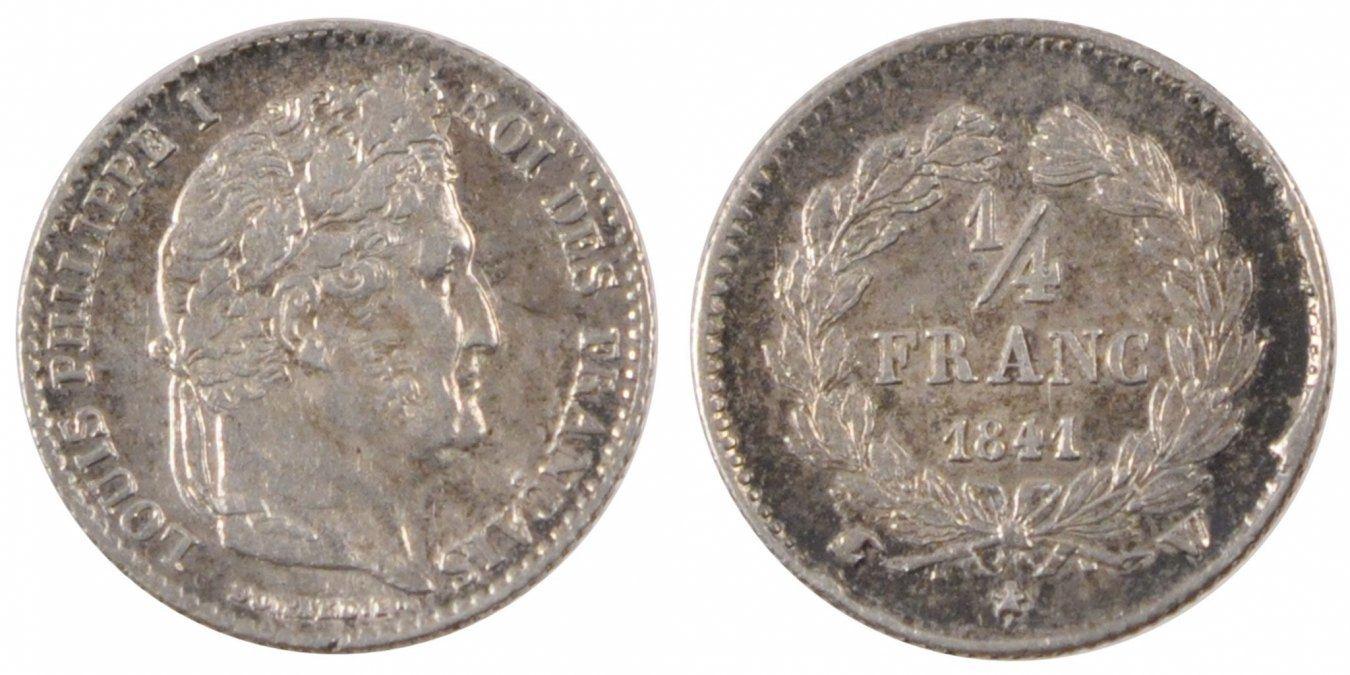 1/4 Franc 1841 W Frankreich Louis-Philippe AU(50-53)