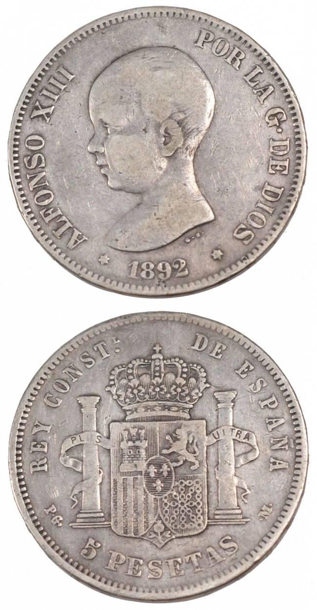 5 Pesetas 1892 Spanien SPAIN, KM #689, Silver, 24.64 SS