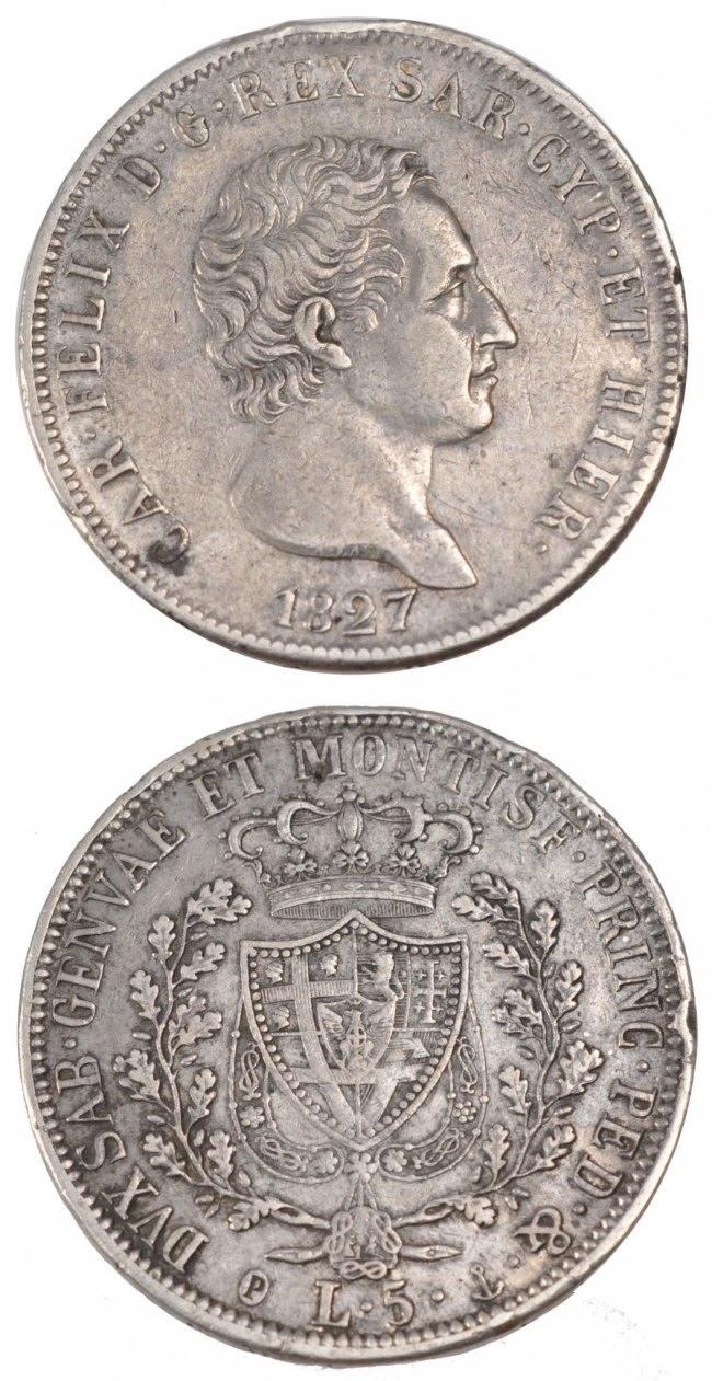 5 Lire 1827 Genoa Italien Staaten ITALIAN STATES, Genoa, KM #116.2, Silver, 37, 24.85 SS