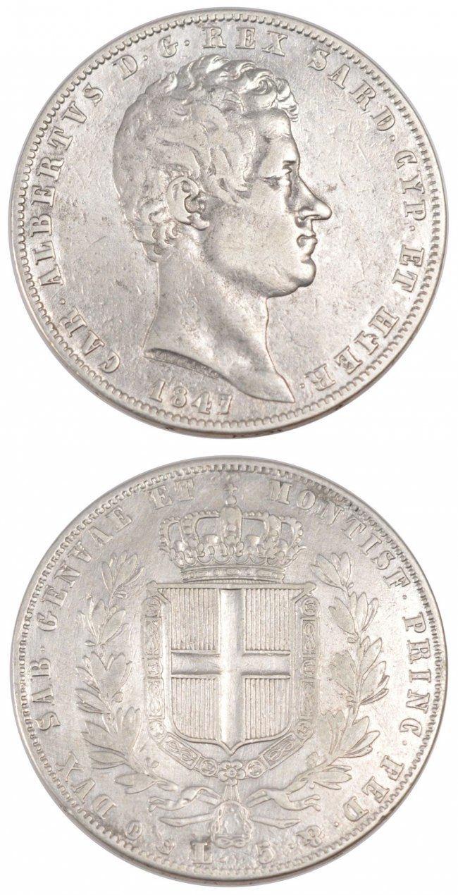 5 Lire 1847 Genoa Italien Staaten ITALIAN STATES, Genoa, KM #130.2, Silver, 37, 24.64 SS