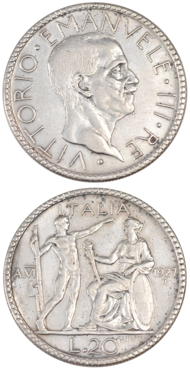20 Lire 1927 R Italien ITALY, Rome, KM #69, Silver, 14.89 SS