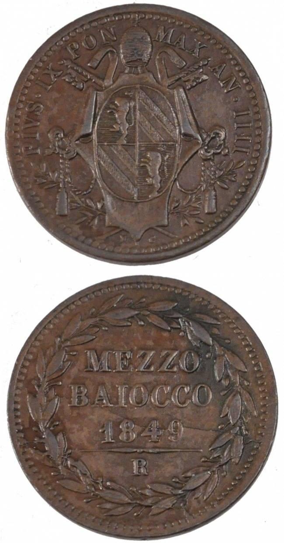 Mezzo (1/2) Baiocco 1849 R Italien Staaten ITALIAN STATES, Roma, KM #1340, Copper,... VZ