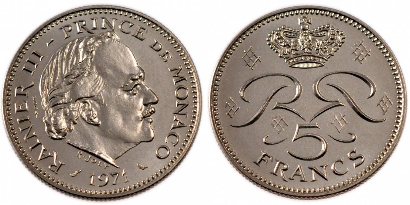5 Francs 1971 Monaco MS(65-70)