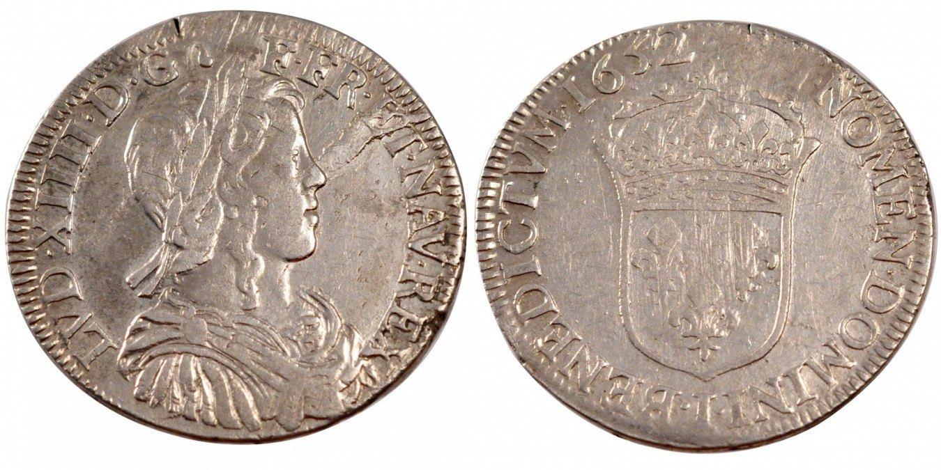 1/2 Ecu 1652 I Frankreich 1/2 Écu à la mèche longue Louis XIV EF(40-45)