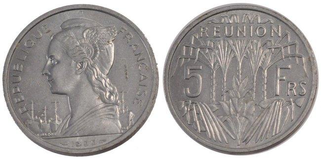 5 Francs 1955 (a) Réunion MS(65-70)