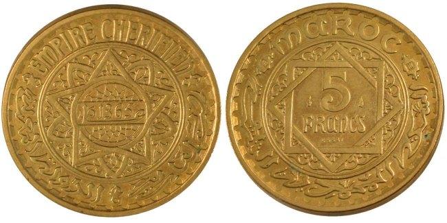 5 Francs 1946 (a) Marokko MS(60-62)