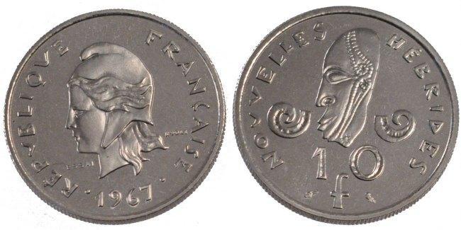 10 Francs 1967 (a) New Hebrides MS(65-70)