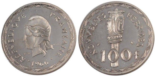 100 Francs 1966 (a) New Hebrides MS(60-62)