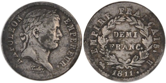 1/2 Franc 1811 B Frankreich Napoléon I EF(40-45)