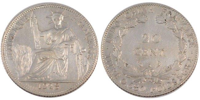 20 Cents 1928 A Französisch Indochina AU(50-53)