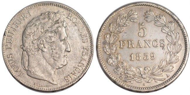 5 Francs 1839 A Frankreich Louis-Philippe AU(50-53)
