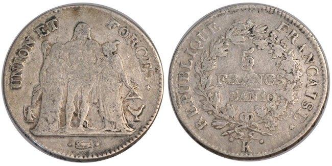5 Francs 1801 K Frankreich Union et Force VF(20-25)