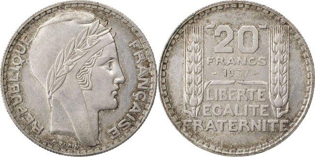 20 Francs 1937 Frankreich Turin MS(63)