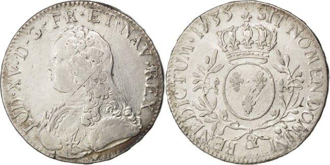 Ecu 1735 Aix Frankreich Écu aux branches d'olivier Louis XV 1715-1774 Louis XV le Bien-Aimé VF(30-35)