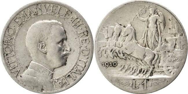 Lira 1910 R Italien Vittorio Emanuele III VF(20-25)