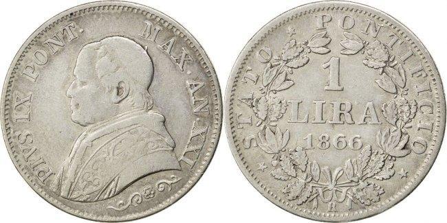Lira 1866 R Italien Staaten Pius IX VF(30-35)