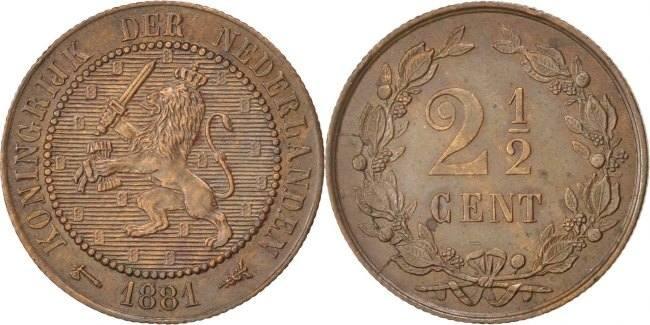 2-1/2 Cent 1881 Niederlande William III AU(55-58)