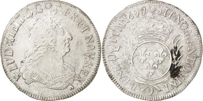 1/2 Ecu 1694 Rennes Frankreich 1/2 Écu aux palmes Louis XIV 1643-1715 Louis XIV le Grand VF(30-35)