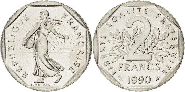 2 Francs 1990 Frankreich Semeuse MS(65-70)