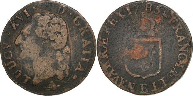 1/2 Sol 1785 B Frankreich 1/2 Sol ou 1/2 sou Louis XVI 1774-1791 Louis XVI VF(20-25)