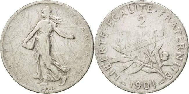 2 Francs 1901 Frankreich Semeuse VF(20-25)