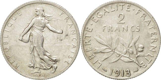 2 Francs 1913 Frankreich Semeuse AU(50-53)