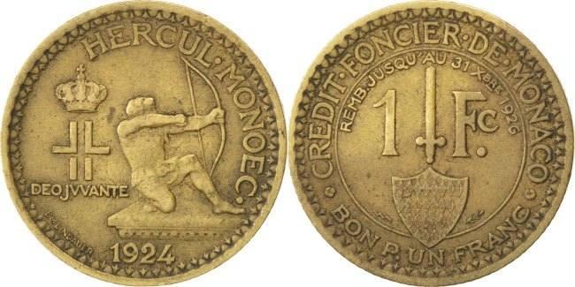 Franc 1924 Poissy Monaco Louis II EF(40-45)