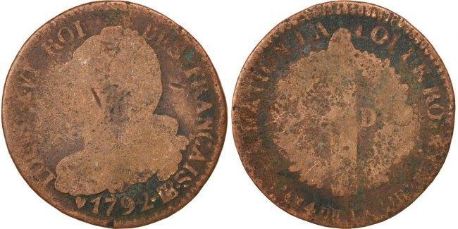 6 Deniers 1792 BB Frankreich 6 deniers français VG(8-10)