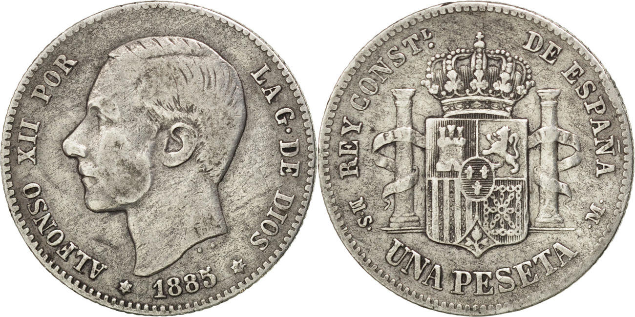 Peseta 1886 Madrid Spanien Alfonso XII VF(30-35)