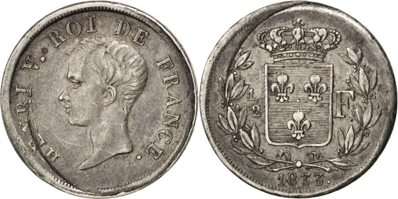 1/2 Franc 1833 Frankreich EF(40-45)