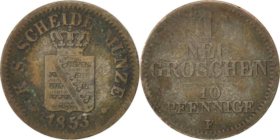 Neu-Groschen, 10 Pfennig 1853 Deutsch Staaten Friedrich August II VF(30-35)