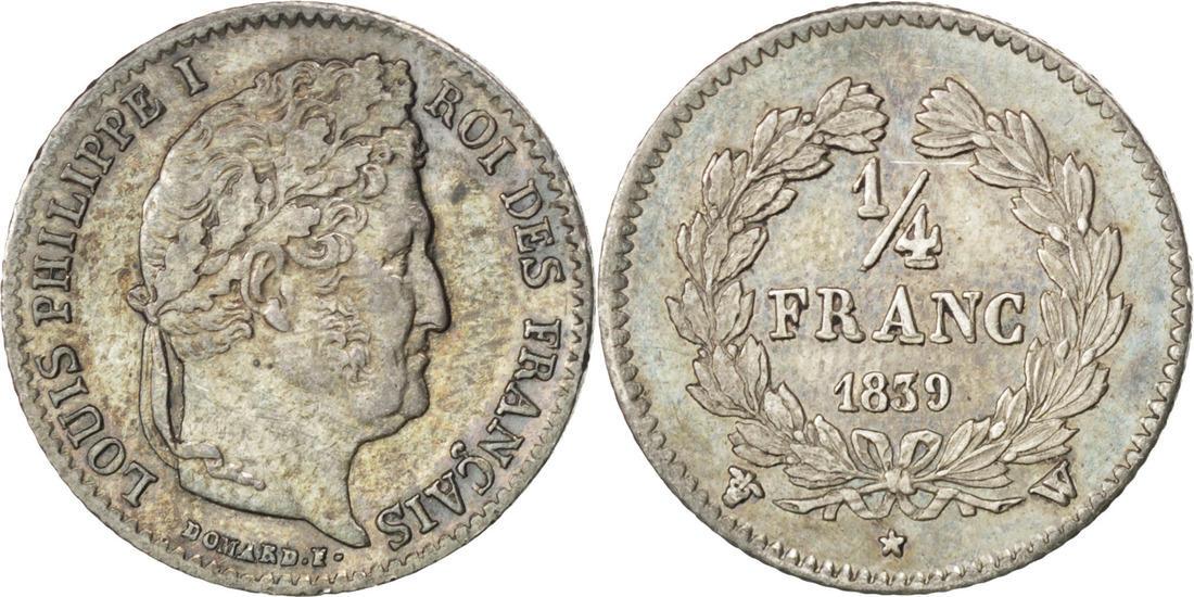 1/4 Franc 1839 W Frankreich Louis-Philippe AU(55-58)